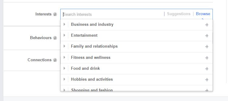 interests on FB ads targeting