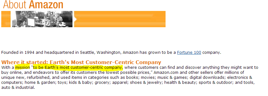 Amazon's About Page